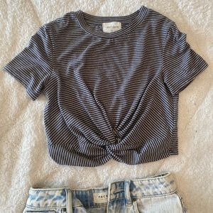 Vestique striped crop top with front knot!